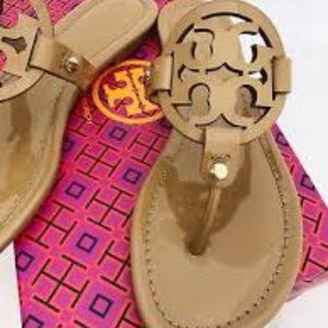 Tory Burch Sand Patent Miller Sandals 7.5